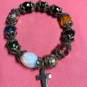 Jewelry - Bracelet with cross charm stretchy